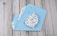 """Плюшевый плед для новорожденного Minky + сумочка-чехол, """"Цветные рыбки"""", фото 1"""