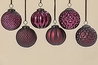 Набор новогодних шаров из 6 шт цвета марсал d10см 1006359
