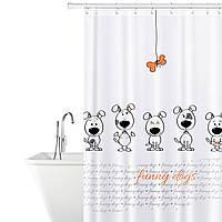 Тканевая штора для ванной комнаты Tatkraft 180 х 180 см Веселые собаки 18136, КОД: 166751, фото 1