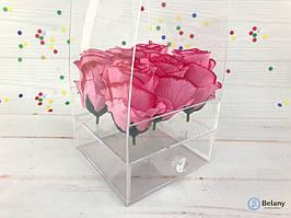 Подарочная упаковка цветов с ящиком оргстекло 14,5Х14,5Х40 под руку коробка прозрачная цветочная