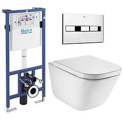 Комплект: Roca GAP Rimless унитаз подвесной, Roca PRO инсталяция для унитаза, кнопка, сиденье  slow-closing