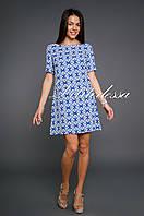 Платье с вырезом-лодочкой синий, фото 1