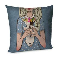 Подушка диванна з оксамиту Щенок на руках с венком 45x45 см (45BP_DOG005)