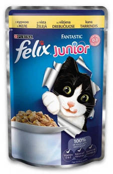 Консерва Felix (Феликс) Junior для котят с курицей в желе, 100х20 шт