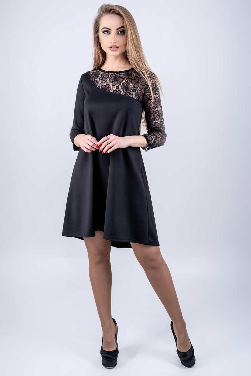 Молодежное платье Сакура черный(44-52)