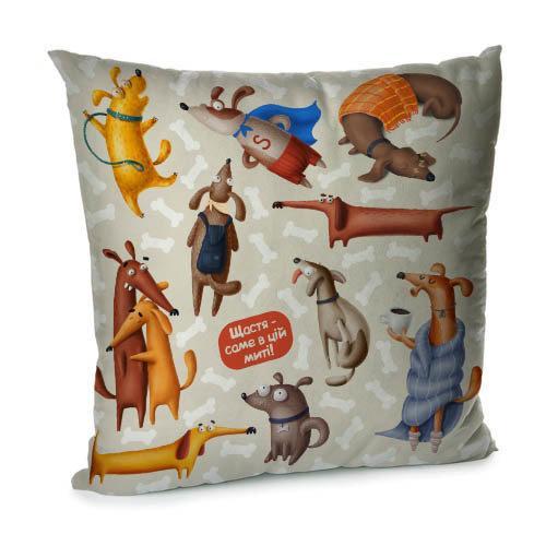 Подушка диванная с бархата Щастя - саме в ці миті! 45x45 см (45BP_DOG047)