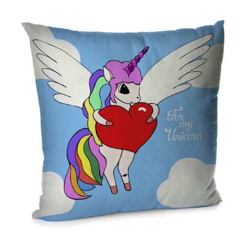 Подушка диванная с бархата For my unicorn 45x45 см (45BP_17L019)