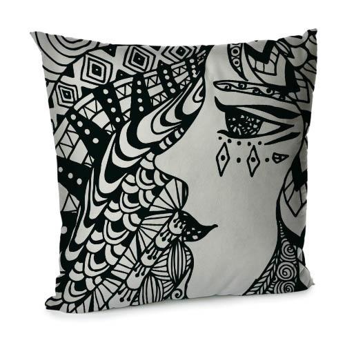 Подушка диванная с бархата Женщина 45x45 см (45BP_TFL032)
