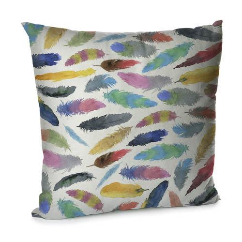 Подушка диванная с бархата Разноцветные перья 45x45 см (45BP_TFL051)