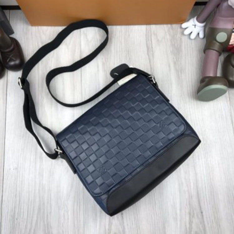 0bf62e999f0a Новинка 2019 кожаная женская сумка мессенджер Louis Vuitton синяя кожа  через плечо LV Луи Виттон люкс