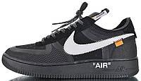 """Мужские кроссовки OFF-WHITE x Nike Air Force 1 Low """"Black"""" 2.0 AO4606-001 Найк Аир Форс ОФФ Вайт низкие черные"""