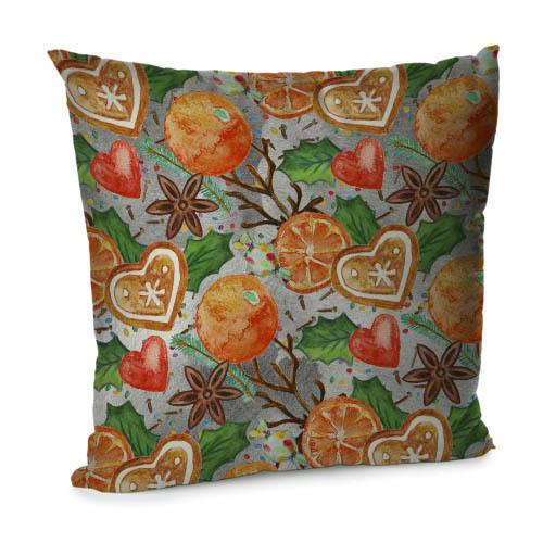 Подушка диванная с бархата Новогодние натуральные украшения 45x45 см (45BP_17NG007)
