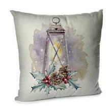Подушка диванная с бархата Новогодний фонарь 45x45 см (45BP_17NG011)