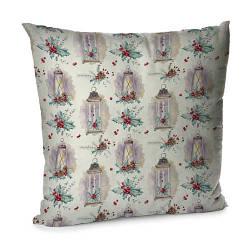 Подушка диванна з оксамиту Новогодние подсвечники 45x45 см (45BP_17NG012)