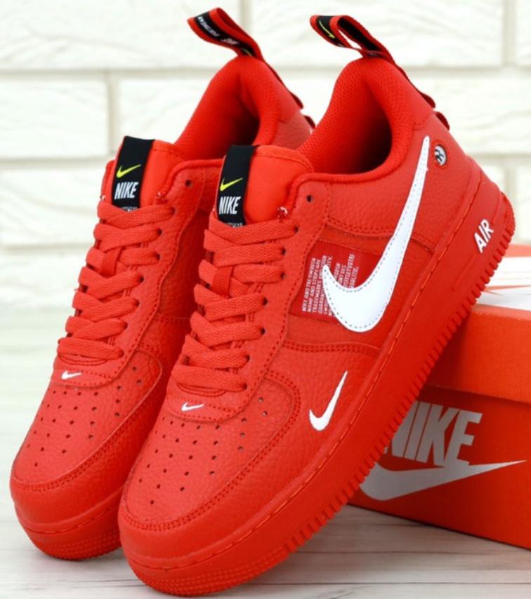 140e73fb Мужские кроссовки Nike Air Force 1 low красные - интернет-магазин обуви  «Walking»