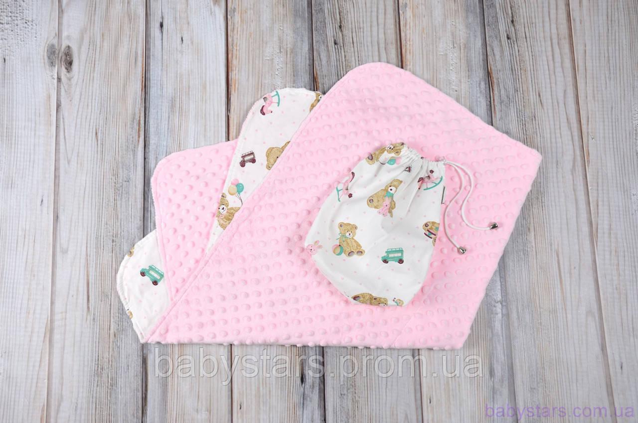 """Детские плюшевые пледы Minky с сумочкой-чехлом, """"Розовые мишки"""""""