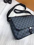 Молодіжна чоловіча сумка месенджер Louis Vuitton чорна Якість сумка на плече Брендовий Луї Віттон репліка, фото 2