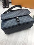Молодіжна чоловіча сумка месенджер Louis Vuitton чорна Якість сумка на плече Брендовий Луї Віттон репліка, фото 4