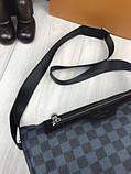 Молодіжна чоловіча сумка месенджер Louis Vuitton чорна Якість сумка на плече Брендовий Луї Віттон репліка, фото 5