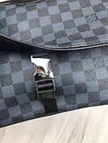 Молодіжна чоловіча сумка месенджер Louis Vuitton чорна Якість сумка на плече Брендовий Луї Віттон репліка, фото 3