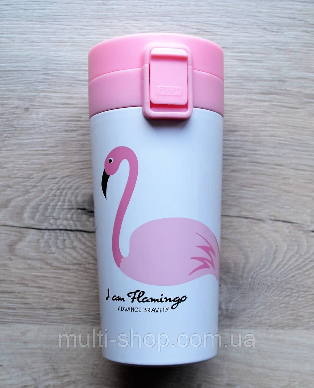 Термокружка/термос с поилкой Flamingo 380 с ситечком фламинго