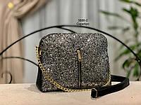 Женская сумка MICHAEL KORS черная с декором из глиттера/черный, лиловый, серебро/
