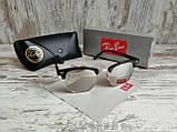 Очки унисекс солнцезащитные Ray Ban рей  Бен  кламбастер линза серебро (реплика), фото 3