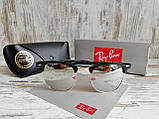 Очки унисекс солнцезащитные Ray Ban рей  Бен  кламбастер линза серебро (реплика), фото 7
