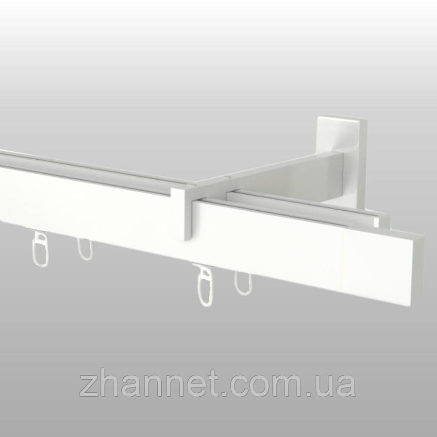 Карниз для штор Square Line QUADRO двухполосный белый