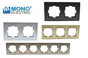 Рамка для розеток и выключателей на шесть постов Despina Metallic Mono Electric