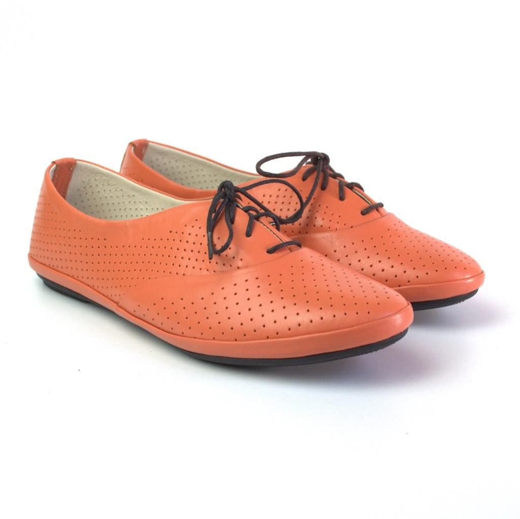 """Летние мокасины женские кожаные LaCoSe Peach Perf by Rosso Avangard цвет персиковый """"Пич"""""""