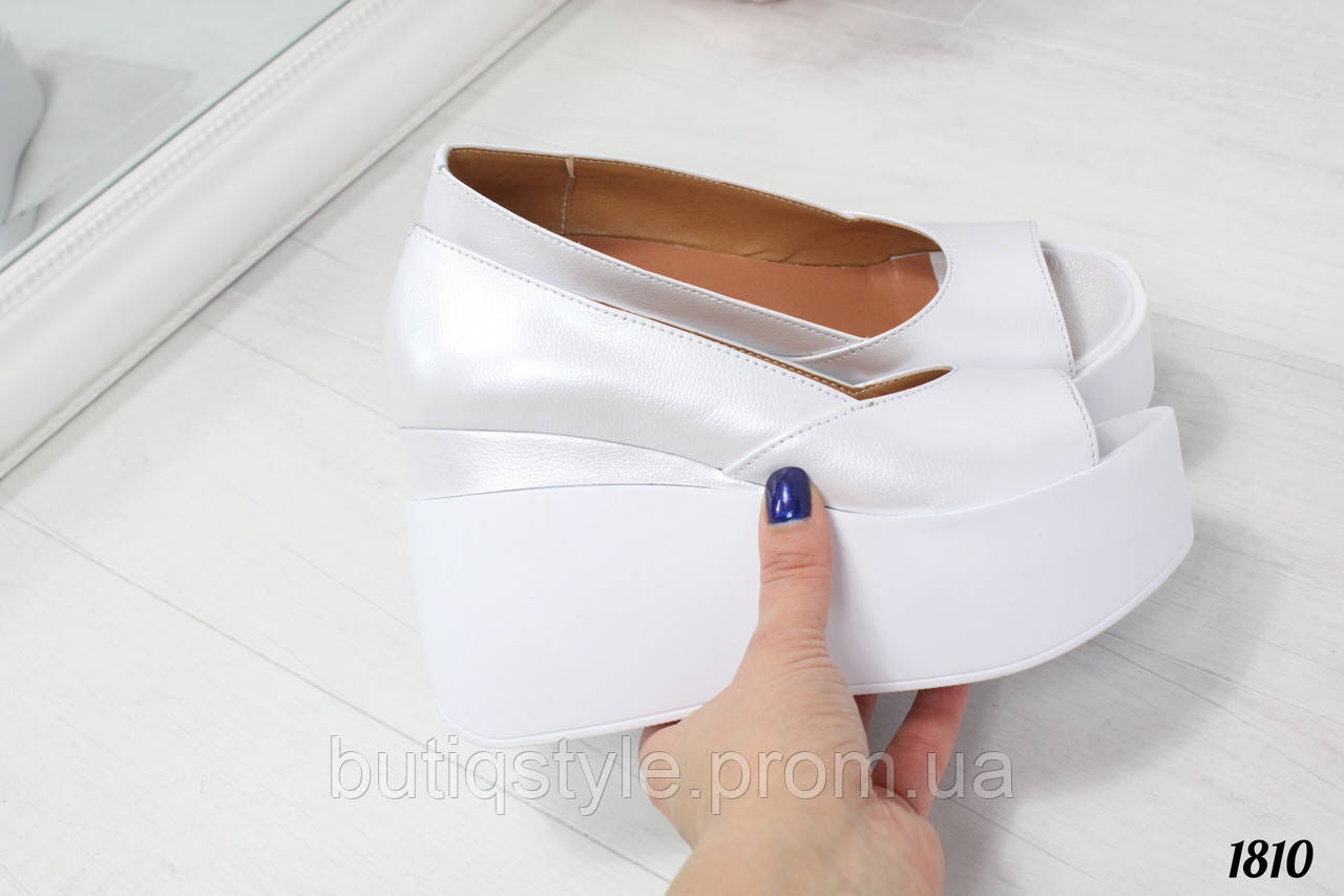 2772c1bf1 Женские белые туфли на белой платформе натуральная кожа перламутр -