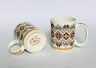 Чашка  керамическая 330 мл. Офисная, декор Вышиванка