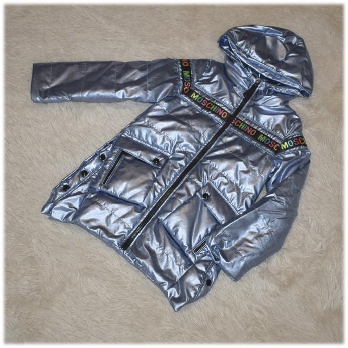 Куртка с капюшоном на девочку весна серебро размер  116 122