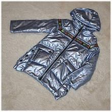 Куртка с капюшоном на девочку весна серебро размер  98 104 110 116 122 128