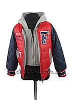 """Куртка для мальчиков """"18-11 F"""", демисезонная, на 3-7 лет, цвет красный с синим рукавом, фото 1"""