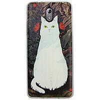 Чехол с рисунком Printed Silicone для Nokia 3.1 Кошка