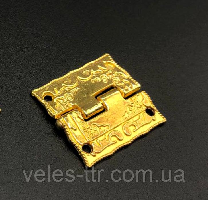 Петля для шкатулок декоративна золото 25х24 мм 270º універсальна
