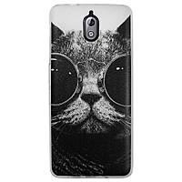 Чехол с рисунком Printed Silicone для Nokia 3.1 Кот в очках