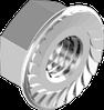Гайка М3 с фланцем зубчатая шестигранная метрическая, сталь, кл. пр. 8, ЦБ (DIN 6923)