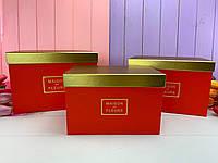 """Прямоугольная коробка """"Gold maison"""" красная (набор из 3 шт)"""