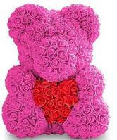 Мишка из роз розовый с красным сердцем 40 см