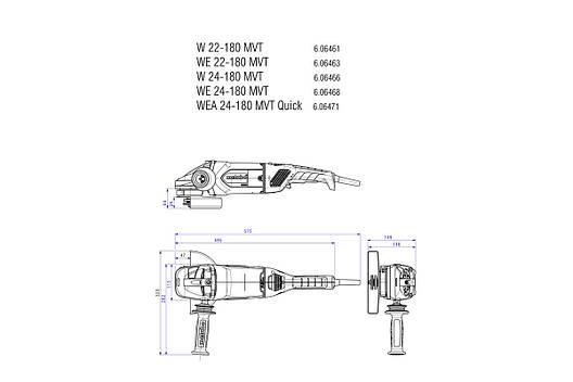 W 22-180 MVT Кутова шліфувальна машина 2200Вт, М14, коробка (dead man switch), фото 2