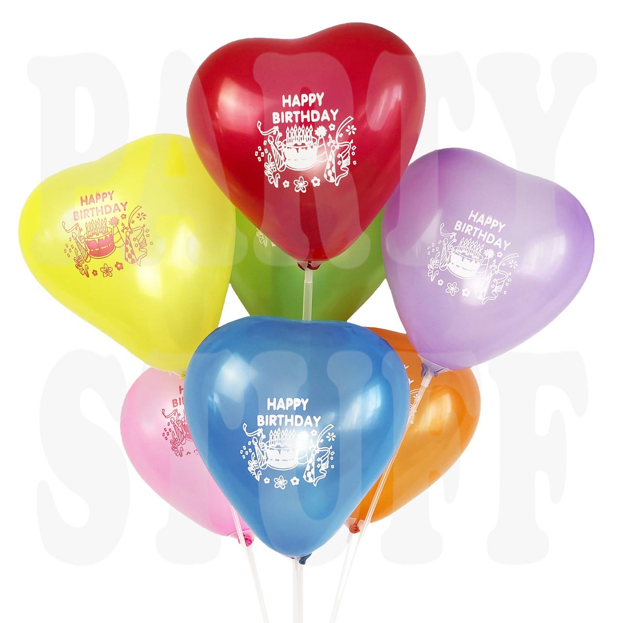 """Воздушные шарики ассорти пастель 12"""" Happy Birthday, 100 шт"""