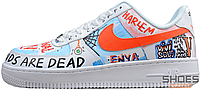 Мужские кроссовки Custom Pauly x Vlone Pop Nike Air Force 1 Low Graffiti Harlem White, Найк Аир Форс 41