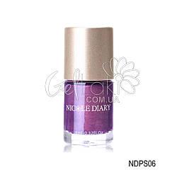"""Лак-краска для стемпинга """"Nicole Diary"""" NDPS06, (фиолетовый с шимером), 9 мл"""