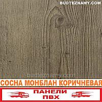 Панель пластиковая (ПВХ) Сосна Монблан Коричневая (ламинированная) Decomax, 250х2700х8 мм.