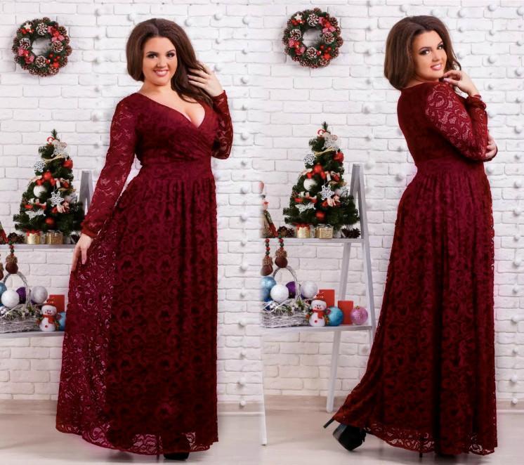 """Шикарное вечернее женское платье в пол """"гипюр"""" 50, 52, 54, 60, 66 размер батал"""