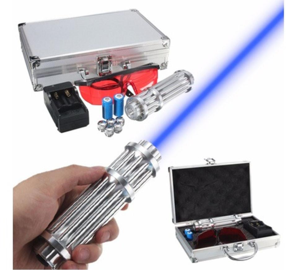 Мощнейший Прожигающий лазер LASER B017 Синий. Прожигает картон, пластик!