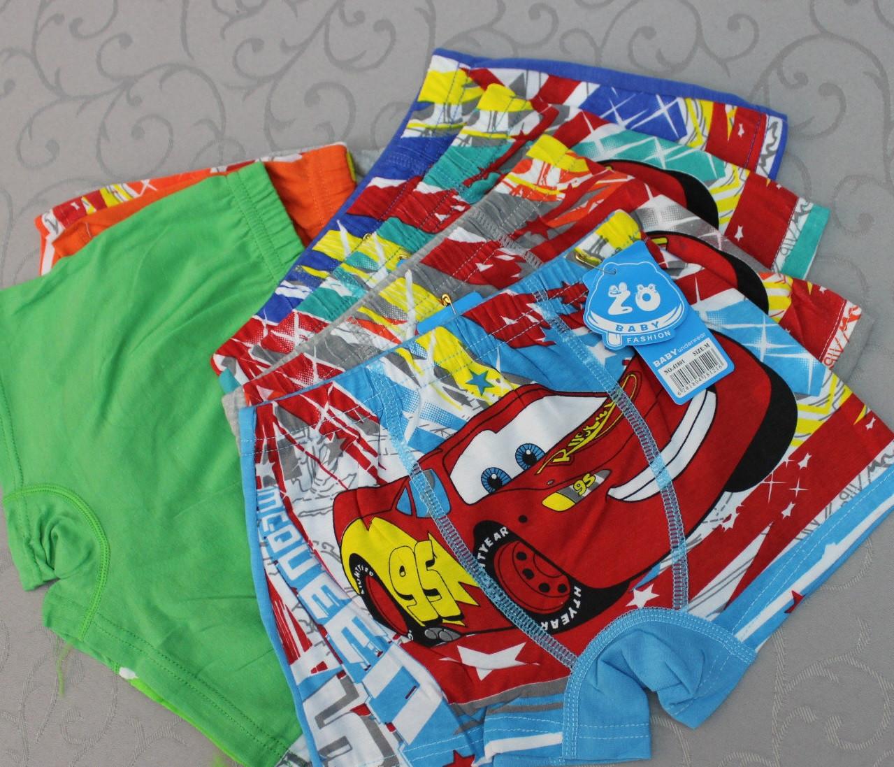 Детские трусики-боксёры шортиками на мальчика Тачки - 3 размер L на 7-9 лет